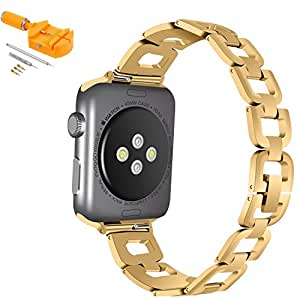 Apple Watch D Link Band, BESTeck Stainless Steel Replacement iWatch Apple Watch Band Link Bracelet For 42mm 38mm Apple Watch Series 1 2 3 + Watch Link Remover Tool (42mm Gold)