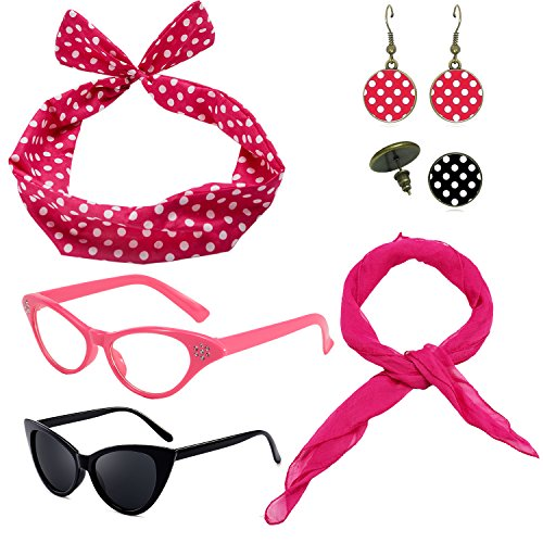 1950's Womens Costume Accessories - 50s Chiffon Scarf,Cat Eye Glasses,Bandana Tie Headband,Drop Dot Earrings (OneSize, Hot Pink)