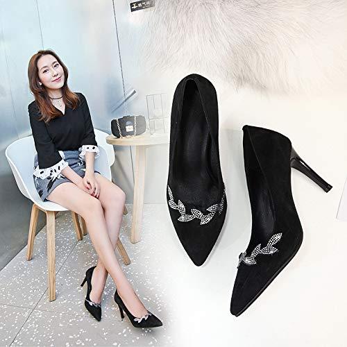 Black PU Mujer Las zapatos Baja Zapatos De Yukun Manera Mujeres Boca de tacón De Zapatos Spring De Moda alto Aguja Solos Tacón Puntiaguda La Rhinestone Alto Suede Bajos Owpvqxwad