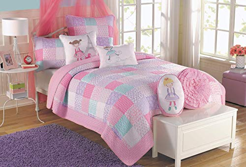 Cozy Line Home Fashions Angelina Floral Flower Dot Pink Light Purple Blue Printed Patchwork 100% Cotton Reversible Quilt, Bedspread, Coverlet Bedding Set (Pink/Blue, Twin - 2 Piece) (Light Purple Bedding Twin)