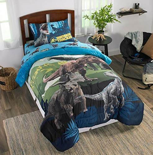 Bedding World Toddler - Kids Bedding Jurassic World Blue Dinosaur Boys Twin Comforter & Sheet Set (4 Piece Bed Set) + Homemade Wax Melts
