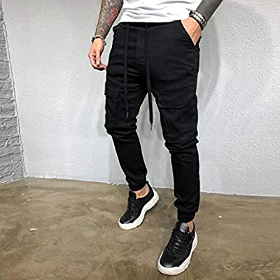 Leadmall Men's Tapered Cargo Pants | Men Slim Fit Drawstring Waist Hip Hop Jogger Trousers | Casual Skinny Workout Pant with Pocket: Garden & Outdoor