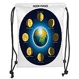 Custom Printed Drawstring Sack Backpacks Bags,Educational,Circular Frame Showing Basic Phases of Moon Calendar Cosmos Universe,Blue Indigo Mustard Soft Satin,5 Liter Capacity,Adjustable String Closure