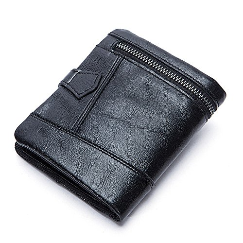 Square La Wallet Hombres Men's De Short Cremallera Vertical Monedero Zipper Black Suave Corta Nhgy Soft De Vertical Face Cuadrado Negro Wallet De Nhgy Cartera Los Leather Cara Cuero 87E1qnZ8w