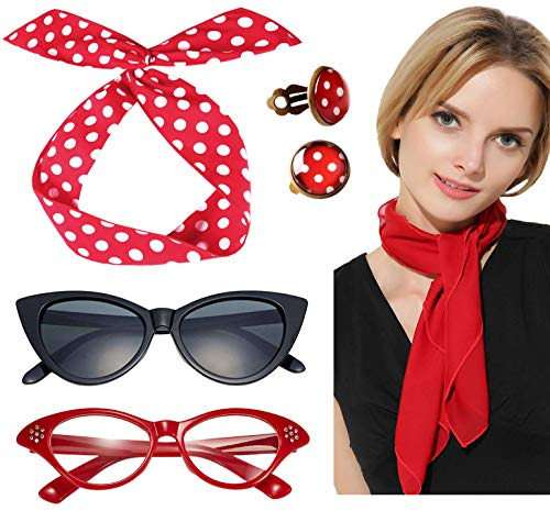 50s Accessories for Women 50s Scarf 50s Glasses Cat Eye Red Girls Sock Hop Costume women ()