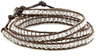 Chan Luu Clear Quartz Leather Wrap Bracelet