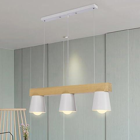 TRIOY Life Pendelleuchte Hängeleuchte Nordic Weiß Kronleuchter Deckenlampen  Holz Und Metall Deco Lampe Beleuchtung 3 Flammig