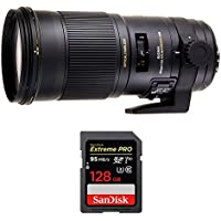 Sigma (107-101) 180mm F2.8 EX APO DG HSM OS Macro Lens for Canon SLR Cameras w/ Sandisk Extreme PRO SDXC 128GB UHS-1 Memory Card