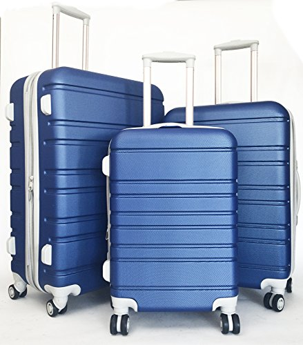 3pc Luggage Set Hardside Rolling 4wheel Spinner Upright Carryon Travel Blue by Trendy Flyer