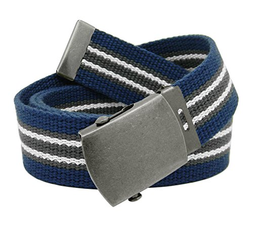 [Men's Antique Silver Slider Military Belt Buckle with Canvas Web Belt Medium Navy Gray White] (Navy Belt Buckle)