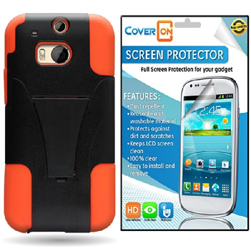 CoverON HTC One (M8) / M8 for Windows Kickstand Hard + Soft Dual Layer Hybrid Case Cover Bundle with Clear Anti-Glare LCD Screen Protector - Black Plastic Neon Orange Silicone