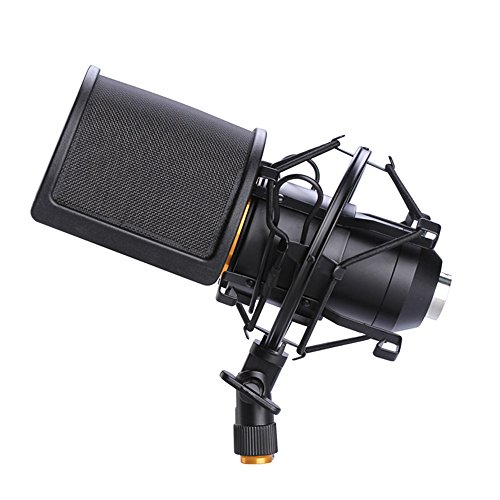 Microphone Shock Mount with Pop Filter, Mic Anti-Vibration Suspension Shock Mount Holder Clip for Diameter 46mm-53mm Microphone - Image 1