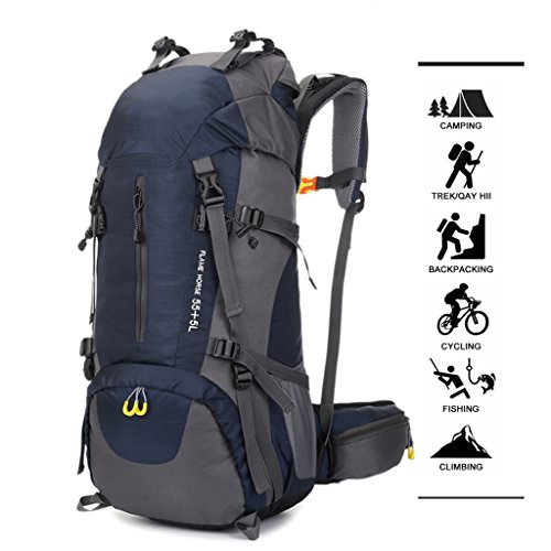 60L Waterproof Nylon Women zyy And Seasons Black Color Four Blue Black Men Sports Large Shoulders Universal Outdoor Capacity Travel Bags Backpack wq7XI87