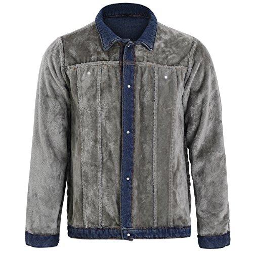 Allthemen 1 Bleu Foncé Longues Jean En Blouson Homme Manches Jacket wxSrwPFnqT