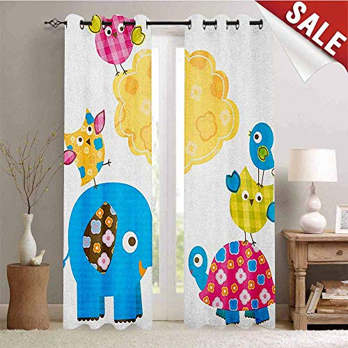 Flyerer Nursery, Decorative Curtains for Living Room, Diverse Cartoon Happy Animals Tortoise Elephant Lovely Yellow Cloud Drawing Style, Waterproof Window Curtain, W96 x L96 Inch Multicolor