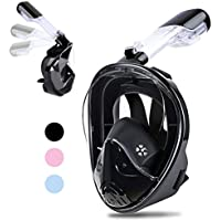 Greatever 2018 Newest Version Snorkel Foldable 180 Panoramic View Free Breathing Full Face Snorkeling Mask
