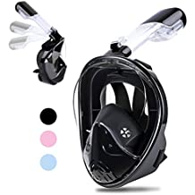 Greatever [2018 Newest Version] Snorkel Mask Foldable 180 Panoramic View Free Breathing Full Face Snorkeling Mask with Detachable GoPro Mount, Dry Top Set Anti-fog Anti-leak for Adults & Kids