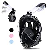 Greatever [2018 Newest Version View Panoramic Snorkel Mask - Breathefree Full Face Snorkeling Mask with Detachable GoPro Mount, Dry Top Set Anti-Fog Anti-Leak for Adults&Kids(Black, L/XL)