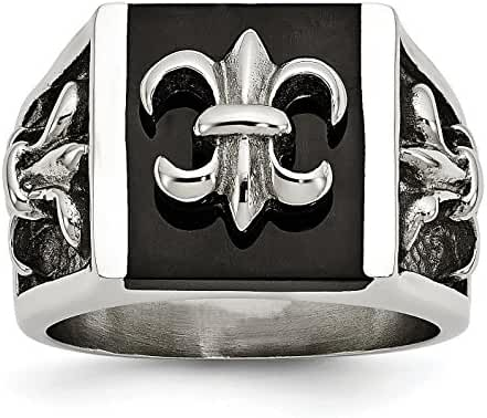 Stainless Steel Polished Black IP Plated Fleur de lis Ring