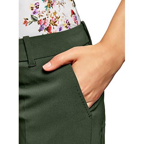 e9a66ca03b durable modeling oodji Collection Mujer Pantalones Básicos con Pinzas