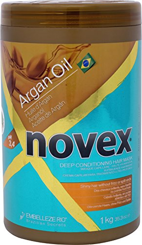 Embelleze Novex Argan Oil Deep Conditioning Hair Mask 35 oz Daily Hydrating Mask, Prevents & Repairs Split Ends, Reduces Frizz, Smoothes, Straightens All Hair Types. Great For Women and Men & Children by Novex