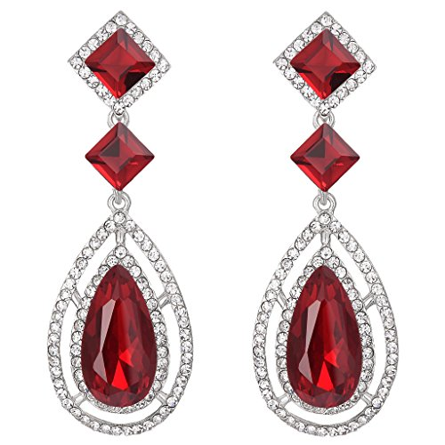 (BriLove Women's Wedding Bridal Crystal Faceted Infinity Square Teardrop Hollow Chandelier Dangle Earrings Ruby Color Silver-Tone)