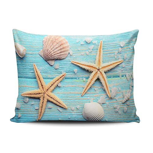 (WEINIYA Bedroom Custom Decor Sea Stars and Shells on Blue Wooden Board Throw Pillow Cover Elegant Design One Side Printed Patterning Lumbar 12x20 Inches)