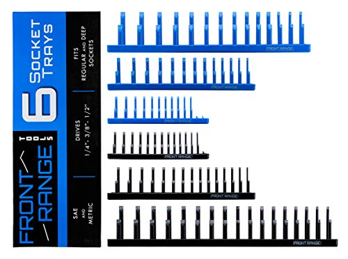 Front Range Tools - Socket Tray Set - 6 Piece SAE and Metric - Blue and Black