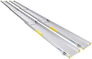 "Ruedamann 10' x 6.5"" Wheelchair Ramp Aluminum Adjustable Three Section Telescoping, Lightweight Portable Loading Ramp for Wheelchairs (MR107T-10)"