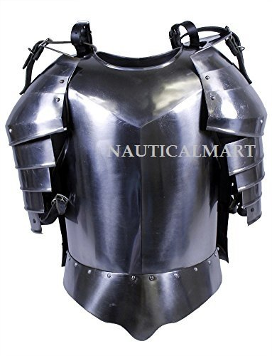 NAUTICALMART Medieval Times Shoulder Guard Steel breastplate One Size Fits Most Silver by NAUTICALMART