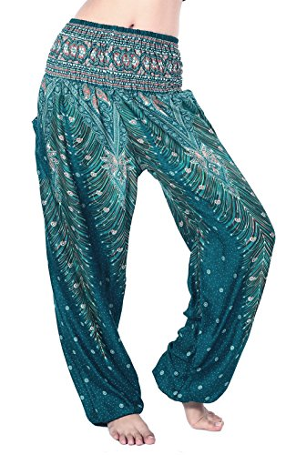 (Boho Vib Women's Rayon Print Smocked Waist Boho Harem Yoga Pants (Small/Medium, Peacock 1 Teal)