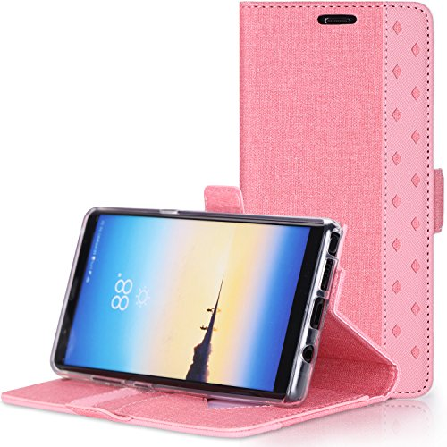ProCase Galaxy Note 8 Wallet Case, Folio Folding Wallet Case Flip Cover Protective Case for Galaxy Note 8 2017 Release, with Card Slots and Kickstand -Pink