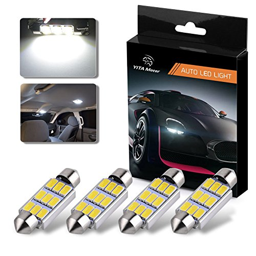 YITAMOTOR 4 Pcs 42MM 5630 Clip 9SMD Festoon Dome Map Interior High Power LED Light Bulb 211-2 578, White Color