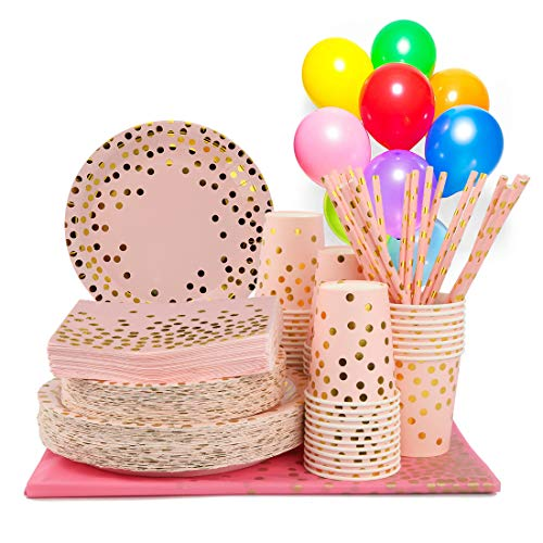YKB Pink and Gold Party Supplies-271 Pieces Disposable Pink Paper Plates Party Dinnerware Decorations Utensils Sets for…