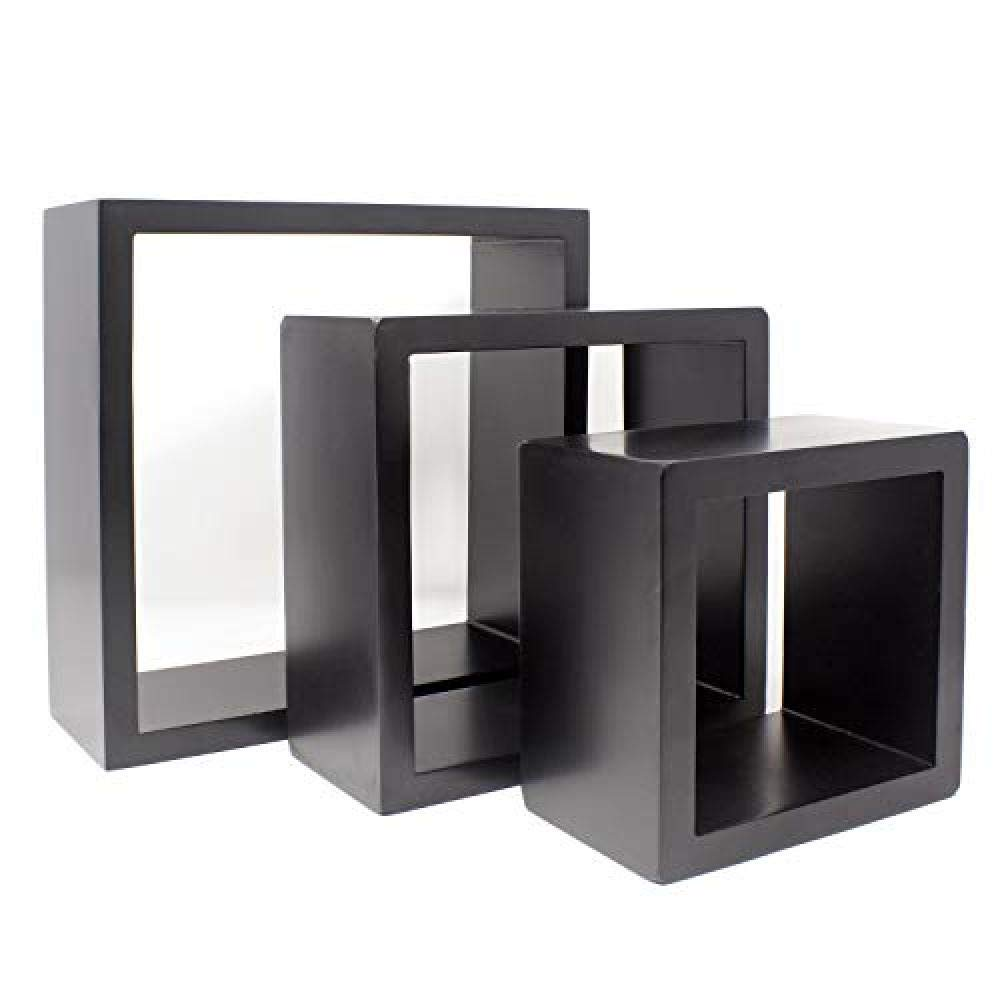 Caiji Set of 3 Cube Floating Wall Shelves//Black//15//20//25cm