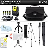 All In Accessories Kit For GE POWER Pro series X500, X5, X550 Power Pro Digital Camera Includes 50 Tripod + 67 Monopod + 7 Flexible Tripod + 4AA High Capacity Rechargeable NIMH Batteries + AC/DC Rapid Charger + Deluxe Case + Screen Protectors + More