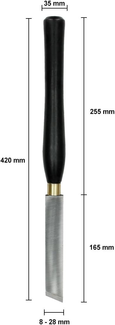 ECD Germany Set Professionale Tornio Legno 8 Sgorbie Scalpelli Sgorbio Set 8 Pezzi Coltelli per Legna Girevole Kit Professionale in Legno Laccatto e Acciaio HSS Scatola in Legno