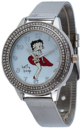 Betty Boop #BB-W071 Women's Blowing Red Dress Silver Tone Mesh Band Analog Watch