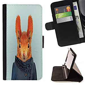 King Art - Premium-PU-Leder-Prima caja de la PU billetera de cuero con ranuras para tarjetas, efectivo Compartimiento desmontable y correa para la mu?eca FOR Apple iPhone 6 6S 4.7 - Rabbit Cute