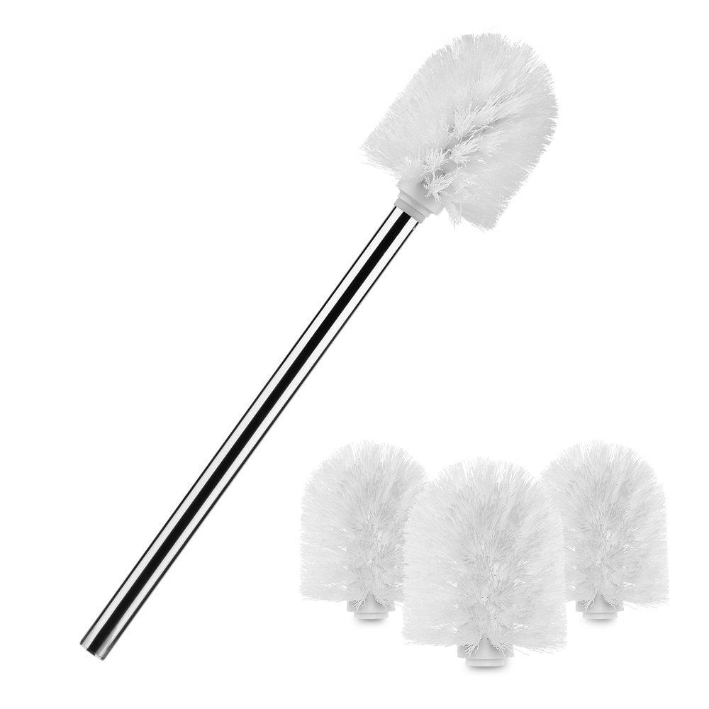 Greenour Toilet Brush Stainless Steel Toilet Bowl Brush Strong Bristles Bowl Cleaning Brush for Bathroom Toilet with 3 Replacement Brush Head