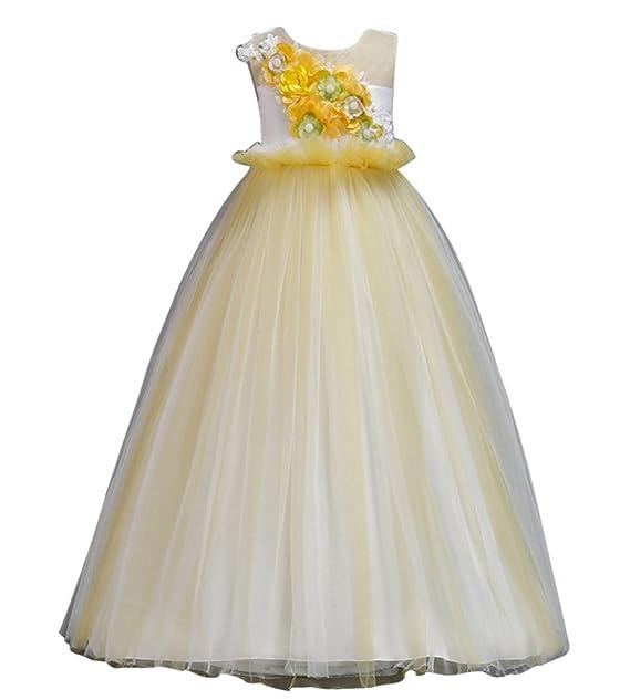 GUOCU Vestido de Flores para Niña Princesa Sin Mangas Largo Fiesta Tul Comunión Cumpleaños Bola Pageant Vestido para Navidades o Bodas Vestido de Noche: ...