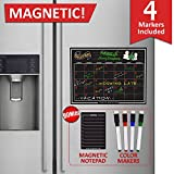 #4: EcoPlanner Monthly Black Magnetic Refrigerator Dry Erase Board Calendar with BONUS Notepad and 4 Magnetic Fluorescent Markers with eraser Included 16