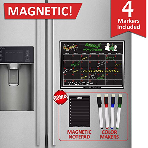 EcoPlanner Monthly Black Magnetic Refrigerator Dry Erase Board Calendar with BONUS Notepad and 4 Magnetic Fluorescent Markers with eraser Included 16