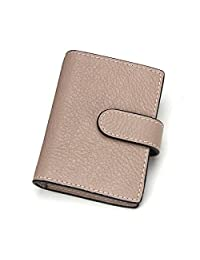 Contacts Unisex Genuine Leather Credit Card Case Holder Wallet with 20 Card Slots Khaki