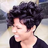 YAMEIJIA Fluffy Short Natural Curly Human Hair Wig Capless Wig Heat safe For Women