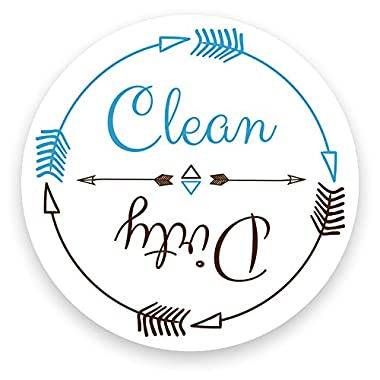 Dishwasher Magnet Clean Dirty White 3 inch Round Magnet - Boho Stylish Cool Tribal Primitive Arrow Design Flip Kitchen Magnet for Home Decor, Gift for Men & Women, or Party Favors, Made in USA