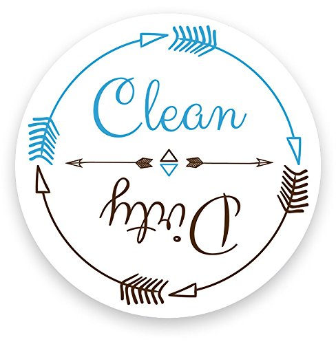 [Dishwasher Magnet Clean Dirty White 3 inch Round Magnet - Boho Stylish Cool Tribal Primitive Arrow Design Flip Kitchen Magnet for Home Decor, Gift for Men & Women, or Party Favors, Made in] (Tattoos Of Princess Crowns)