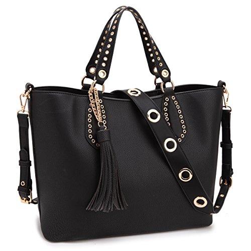 Bag Tote Grommet (DASEIN Women Leather Tote Shoulder Bags Satchel Handbags Large Laptop Purses)