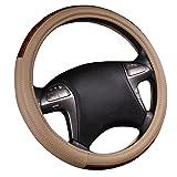 NEW ARRIVAL- CAR PASS Wood Grain Universal Leather Steering Wheel Cover fit for trucks,suvs,vans,sedans(Beige)