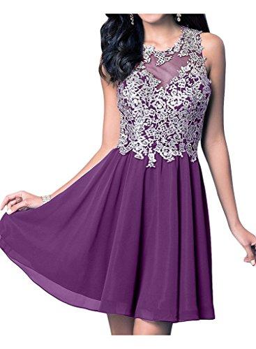 Chiffon ausschnitt Cocktailkleider Spitze Festlich Violett linie La mia Kurz A Abendkleider Ballkleider Braut U Partykleider q1WvyX